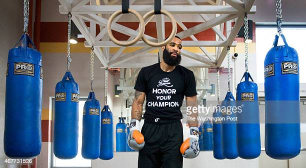 Super lightweight champion Lamont Peterson during practice in Washington DC on March 26 2015 Peterson takes on Danny 'Swift' Garcia on April 11th at...