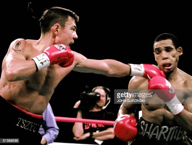 Super Lightweight Champion Sharmba Mitchell of Washington DC takes a left in the face from Kostya Tszyu a Russian native now living in Australia...