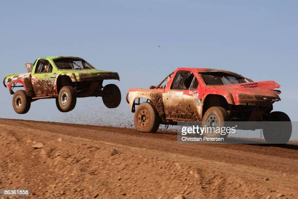 LOORRS super lite drivers David Reyes and Brandon Bailey compete in round 4 of the Lucas Oil Off Road Racing Series on May 3 2009 at the Speedworld...