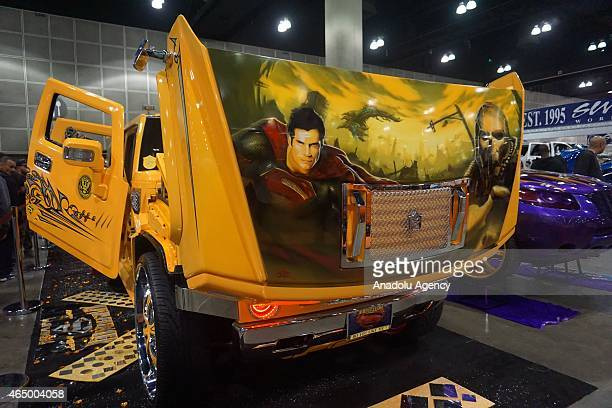 Super Man with Hummer is displayed at DUB Show 2015 custom cars exhibition at Los Angeles Convention Center on March 01 2015 in Los Angeles CA DUB...