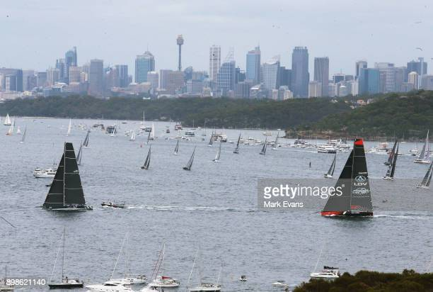 Super Maxi BlackJack leads Commanche after the start of the Sydney to Hobart Yacht Race on Sydney Harbour during the 2017 Sydney to Hobart on...