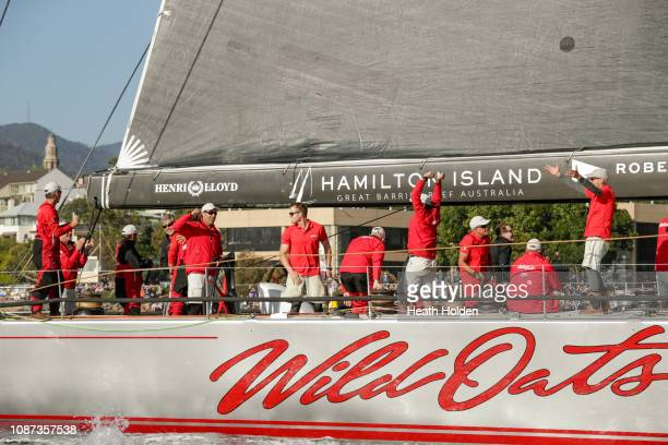 Super Maxi Wild Oats sails up the Derwent River moments before taking its 9th Line Honours in the 2018 Sydney to Hobart yacht race on December 28...