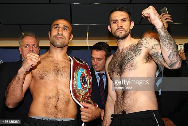 Super middleweight fighter Paul Smith of Great Britain and Arthur Abraham of Germany pose during the weigh in at X Tip on September 26 2014 in Kiel...