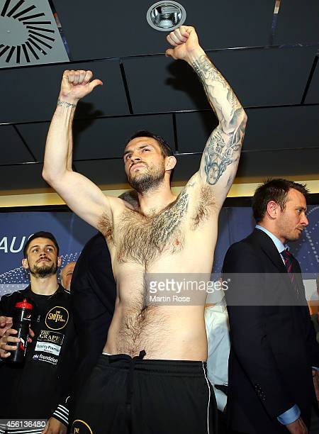 Super middleweight fighter Paul Smith of Great Britain poses during the weigh in at X Tip on September 26 2014 in Kiel Germany