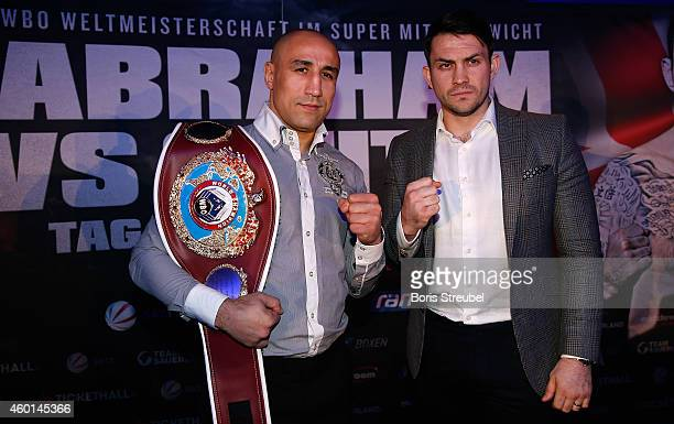 Super Middleweight World Champion Arthur Abraham of Germany and his challenger Paul Smith of England face off after the press conference at O2 world...