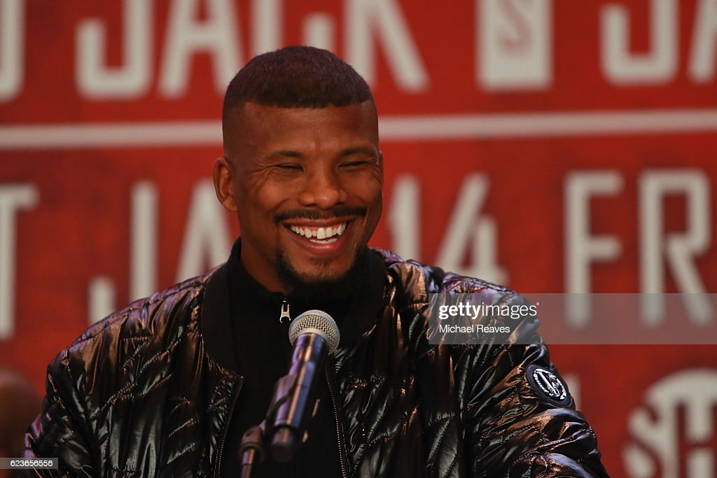 Super Middleweight World Champion Badou Jack addresses the crowd during the press conference announcing the Badou Jack v James DeGale Super Middleweight World Title Unification Bout at Barclays Center on November 16, 2016 in the Brooklyn borough of New York City.