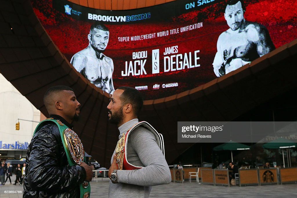 Super Middleweight World Champion Badou Jack (L) and IBF Super Middleweight World Champion James DeGale pose for a photo after the press conference announcing the Super Middleweight World Title Unification Bout at Barclays Center on November 16, 2016 in the Brooklyn borough of New York City.