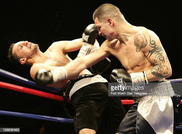 Super middlweight Brian Vera right knocks former world champion Sergio Mora into the ropes at ESPN Friday Night Fights at the Fort Worth Convention...