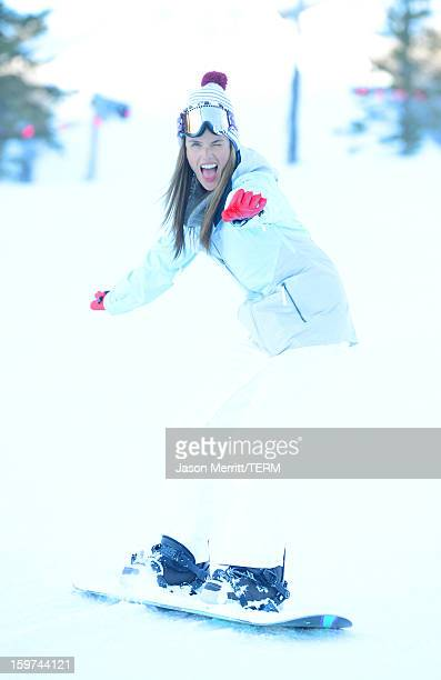 Super model Alessandra Ambrosio snowboards at the Oakley Learn To Ride In Collaboration With New Era on January 19 2013 in Park City Utah