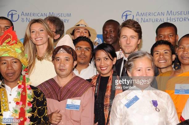 Super model and UN Environmental Ambassador Gisele Bundchen and actor/UN Goodwill Ambassador attend the 2010 United Nations MDG Summit kick off at...