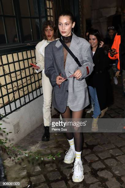 Super Model Bella Hadid arrives at the Heron Preston Presentation Menswear Fall/Winter 20182019 show as part of Paris Fashion Week on January 17 2018...