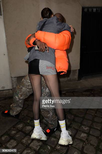 Super Model Bella Hadid is seen hugging OffWhite designer Virgil Abloh at the Heron Preston Presentation Menswear Fall/Winter 20182019 show as part...