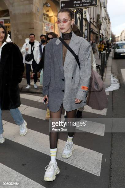 Super Model Bella Hadid is seen strolling in 'Le Marais' area on January 17 2018 in Paris France