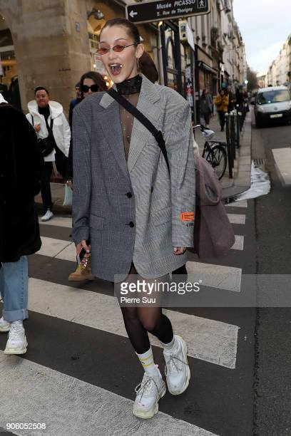 Super Model Bella Hadid is seen strolling in 'Le Marais' area on January 17 2018 in Paris France