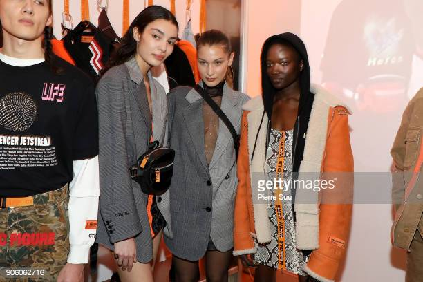 Super Model Bella Hadid poses with models at the Heron Preston Presentation Menswear Fall/Winter 20182019 show as part of Paris Fashion Week on...