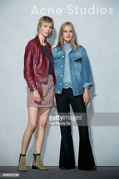 Super model Edie Campbell and Olivia Campbell attend the launch party for 'Acne Studio' flagship store on September 18 2015 in Seoul South Korea