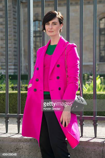 Super Model Erin O'Connor is wearing a Dior coat and shoes on day 4 of Paris Collections Women on September 26 2014 in Paris France