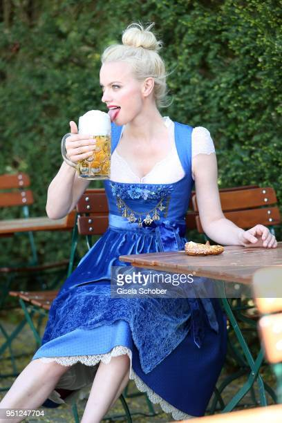 Super model Franziska Knuppe poses during the Edelweiss Muenchen dirndl photo session on April 25 2018 at Restaurant Freizeit in Munich Germany