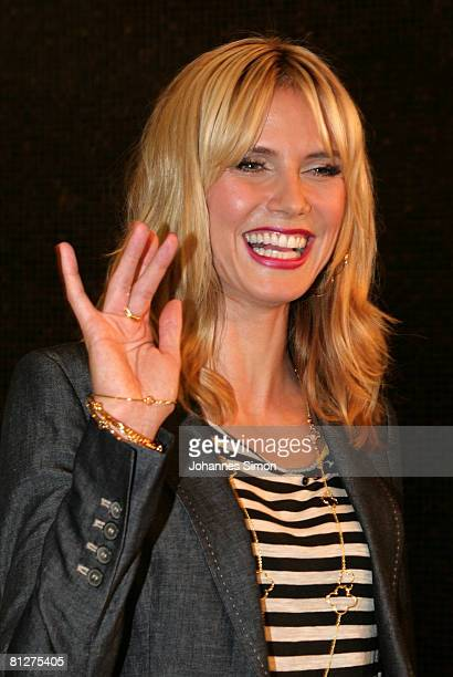 Super model Heidi Klum waves during a press conference at the Munich Inner City McDonald's Restaurant 'Im Tal' on May 29 2008 in Munich Germany
