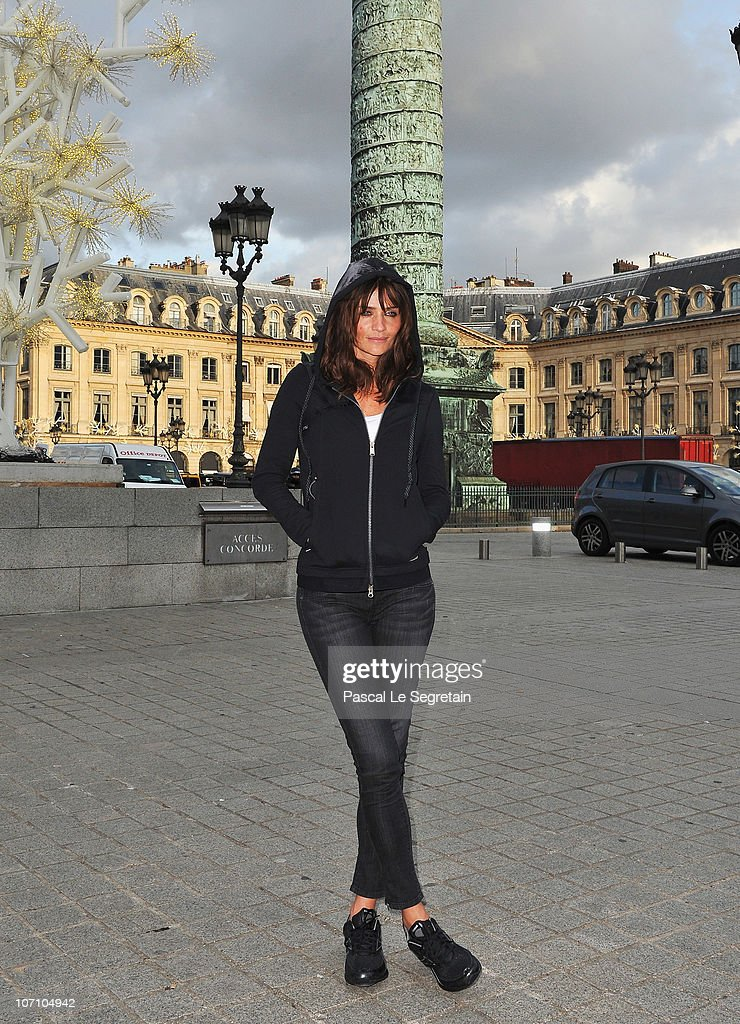 Super Model Helena Christensen poses on Place Vendome as she attends a Reebok EasyTone event on November 24, 2010 in Paris, France.