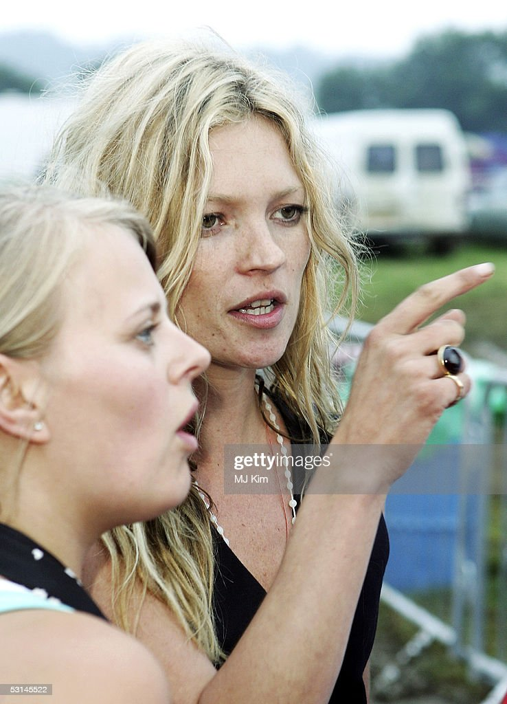 Super model Kate Moss is seen at the first day of the Glastonbury Music Festival 2005 at Worthy Farm, Pilton on June 24, 2005 in Somerset, England. The festival runs until June 26.