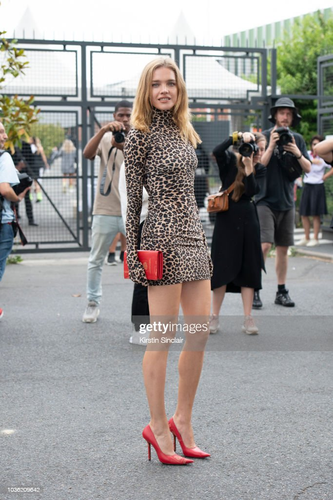 Super Model Natalia Vodianova wears a Vetements dress, bag and shoes during Haute Couture Fall Winter 2018/2019 on July 1, 2018 in Paris, France.