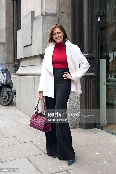 Super Model Yasmin le Bon wears a vintage Dior bag Emilia Wickstead trousers jacket and top on February 21 2015 in London England