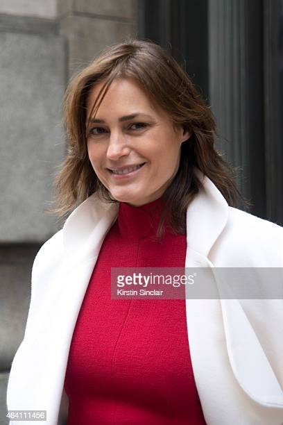 Super Model Yasmin le Bon wears Emilia Wickstead jacket and top on February 21 2015 in London England