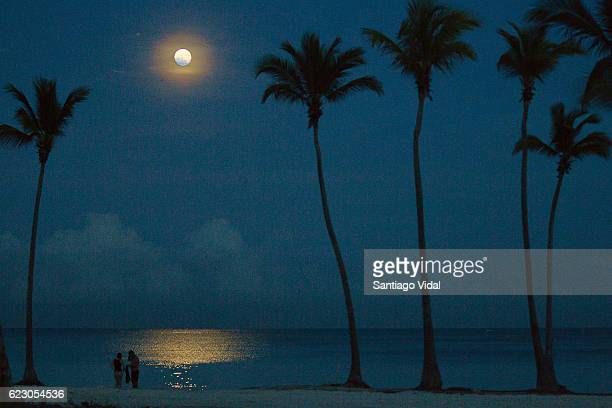 Super Moon is seen over Punta Cana during a full moon night on November 13 2016 in Punta Cana Dominican Republic