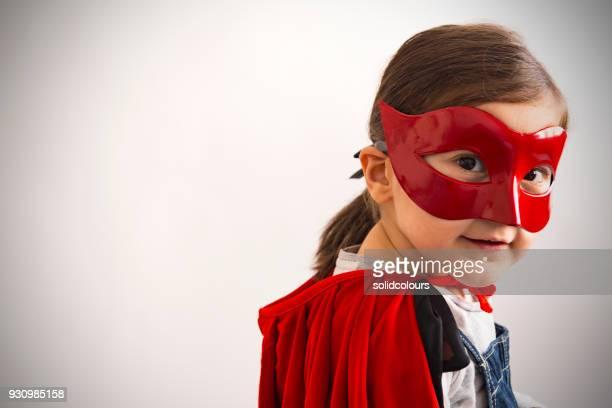 super power girl - maschere carnevale foto e immagini stock