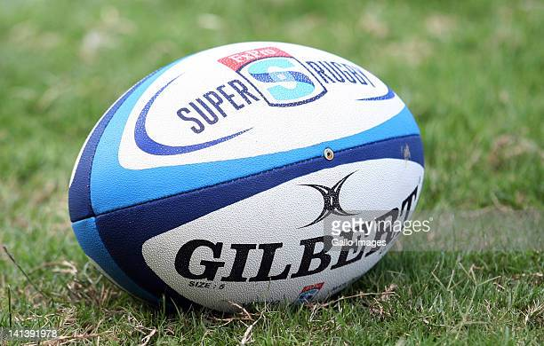 Super Rugby match ball during a St George Queensland Reds training session at Northwood School on March 15 2012 in Durban South Africa