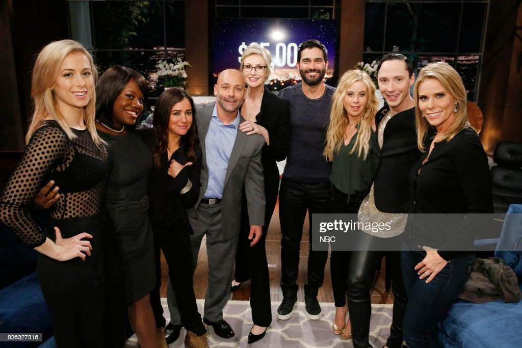 NIGHT -- 'Super Smashed Game Night' Episode 506 -- Pictured: (l-r) Iliza Shlesinger, Contestant, Pamela Adlon, Contestant, Jane Lynch, Tyler Hoechlin, Tara Lipinski, Johnny Weir, Cheryl Hines --