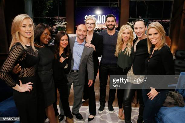 NIGHT 'Super Smashed Game Night' Episode 506 Pictured Iliza Shlesinger Contestant Pamela Adlon Contestant Jane Lynch Tyler Hoechlin Tara Lipinski...