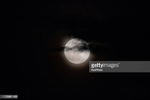 Super Snow Moon as seen in Eindhoven The Netherlands in Europe It is Februarys Full Moon that is the Biggest Super Moon of 2019