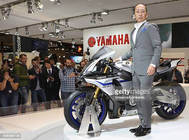 Super Sport model YZFR1M is introduced at Yamaha booth during the EICMA 2014 72nd International Motorcycle Exhibition at Fiera Milano on November 4...