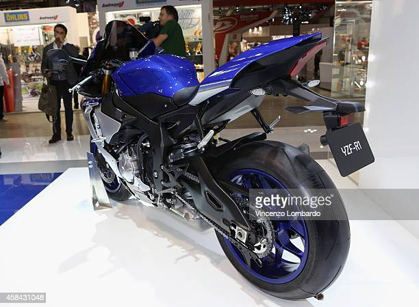 Super Sports model YZFR1 is displayed at YAMAHA booth during the EICMA 2014 72nd International Motorcycle Exhibition at Fiera Milano on November 4...