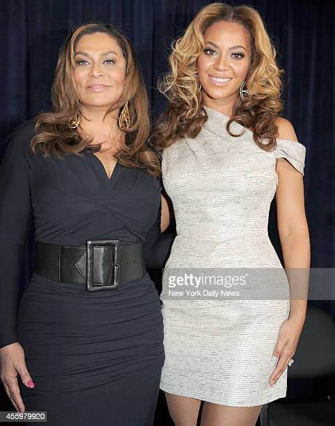 Super Star Pop singer Beyonce and her mother Tina Knowles at the grand opening for the Beyonce Cosmetology Center at the Phoenix House Career Academy...
