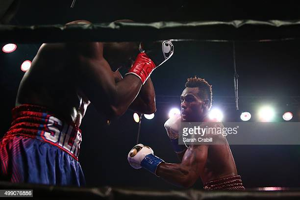 Super welterweight fighters Jermall Charlo and Wilky Campfort exchange punches during the Premier Boxing Champions at Bomb Factory on November 28,...