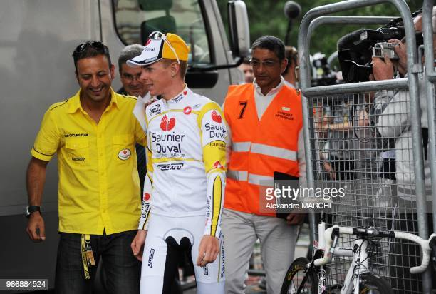 Super-Besse winner, Italian Riccardo Ricco leaves the anti-doping control bus after urine tests, on July 13 at the end of the 224 km ninth stage of...
