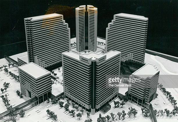 FEB 16 1982 FEB 17 1982 'Superblock' at Centre Point Model shows design of first and most dense superblock at Aurora's CentrePoint development to...