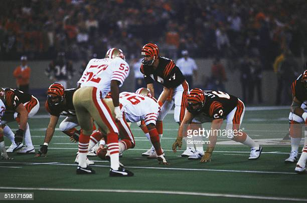 Superbowl action in 1982 between the San Francisco 49ers and the Cincinnati Bengals, with Ken Anderson as quarterback for the Bengals.