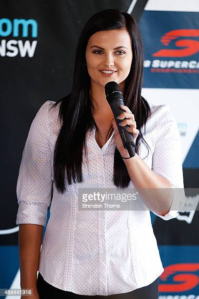 Supercar driver Renee Gracie addresses the media during a V8 Supercars media announcement about the Bathurst 1000 at Overseas Passenger Terminal on...