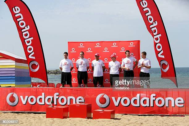 Supercar drivers Jamie Whincup and Craig Lowndes, Lewis Hamilton and Heikki Kovalainen of the Vodafone McLaren Mercedes team and AFL footballers Adam...