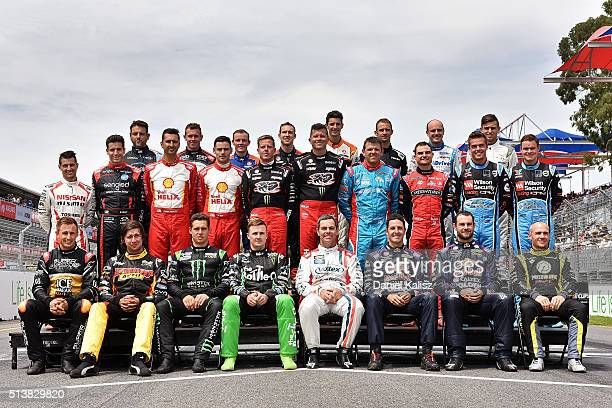 Supercar drivers pose for the beggining of year drivers photo prior to race 1 for the V8 Supercars Clipsal 500 at Adelaide Street Circuit on March 5...