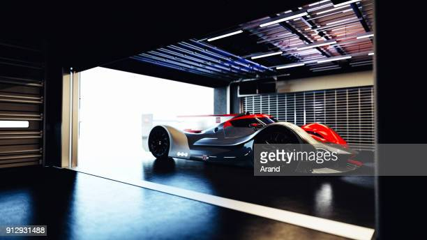 supercar, lemans prototype, photorealistic render - serving sport stock photos and pictures