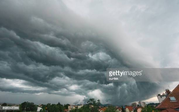 supercell over celje, slovenia - storm season tornadoes stock photos and pictures