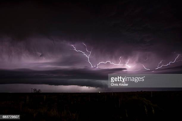 A supercell storm shooting out a lightning crawler north of Amarillo, Texas