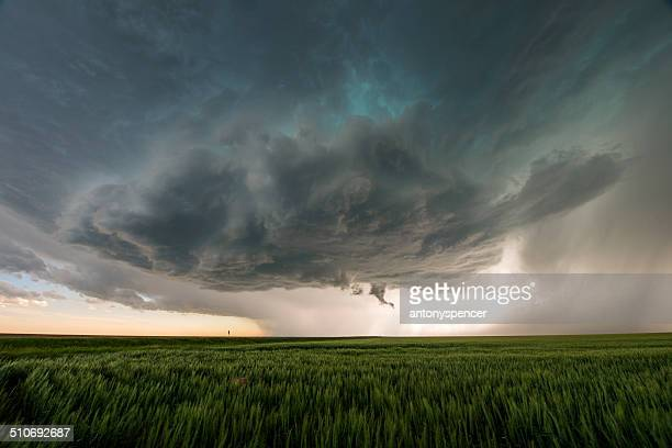 supercell temporale sul great plains, tornado alley, stati uniti - cielo minaccioso foto e immagini stock