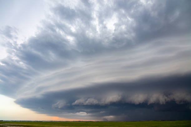 A Supercell Thunderstorm With Dramatic Clouds Approaches Arnold, Nebraska.