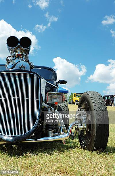 supercharged hot rod on display at car show - supercharged engine stock pictures, royalty-free photos & images